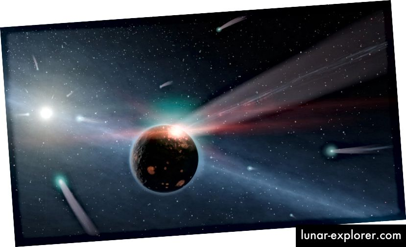 Ein Beispiel für einen Kometensturm um einen Stern in unserer Nähe, genannt Eta Corvi. Bildnachweis: NASA / JPL-Caltech.