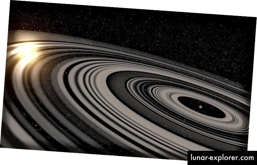 Künstlerische Vorstellung des extrasolaren Ringsystems, das den jungen Riesenplaneten oder den Braunen Zwerg J1407b umkreist. Bildnachweis: Ron Miller.