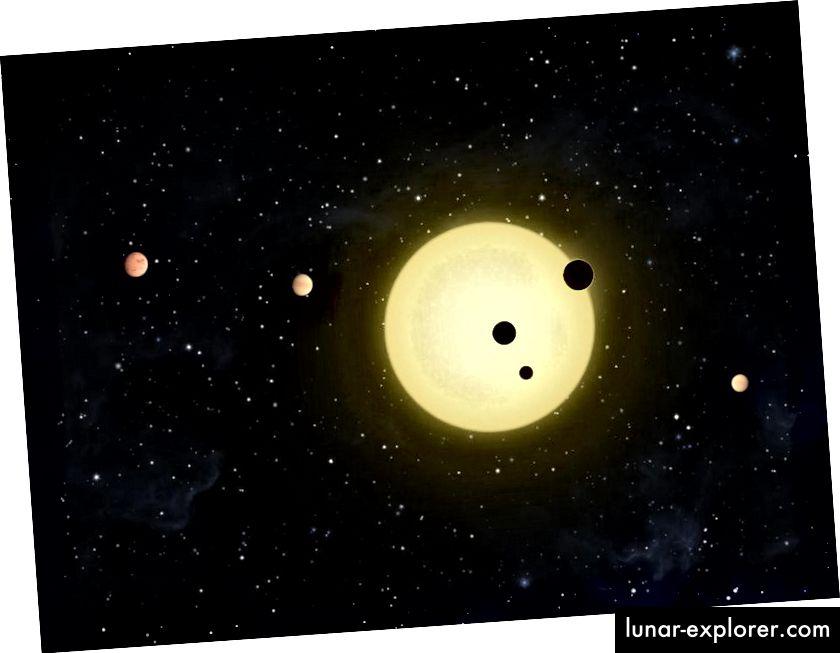 Konzeptzeichnung eines Sonnensystems mit zahlreichen Planeten, die alle den Gesetzen der Schwerkraft folgen. Bildnachweis: NASA / Tim Pyle.