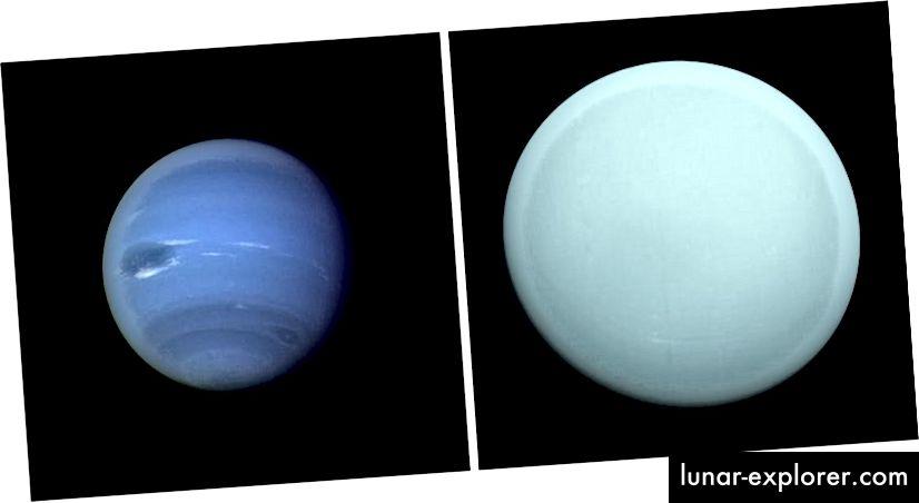 Bildnachweis: NASA / Voyager 2 von Neptun (L) und Uranus (R).