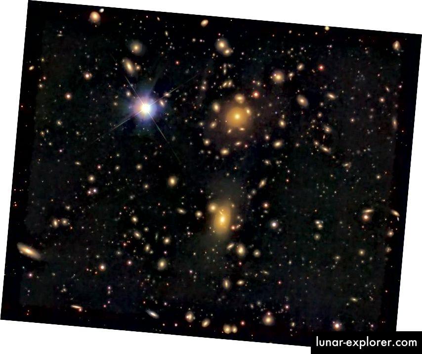 Der Koma-Galaxienhaufen, dessen Galaxien sich viel zu schnell bewegen, um aufgrund der allein beobachteten Masse durch die Gravitation erklärt zu werden. Bildnachweis: KuriousG von Wikimedia Commons, unter einer Lizenz von c.c.a.-s.a.-4.0.