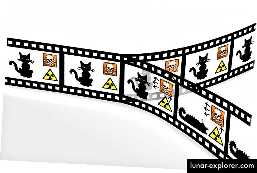 Ideja paralelnih Univerzuma, primijenjena na Schrödingerov eksperiment mačjih misli. Hugh Everett, učenik Johna Wheelera zaslužan je za izum multi-svjetske interpretacije kvantne mehanike, koju je potaknuo i sam Wheeler. Kreditna slika: Christian Schirm.