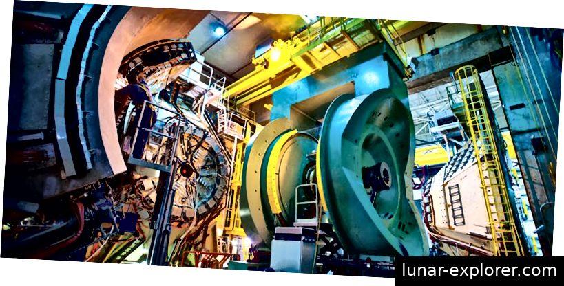 Indem Teilchen in einem hochentwickelten Detektor wie dem PHENIX-Detektor von Brookhaven am RHIC bei hohen Energien zusammenstoßen, sind sie führend bei der Messung der Spinbeiträge von Gluonen. Bildnachweis: Brookhaven National Laboratory.