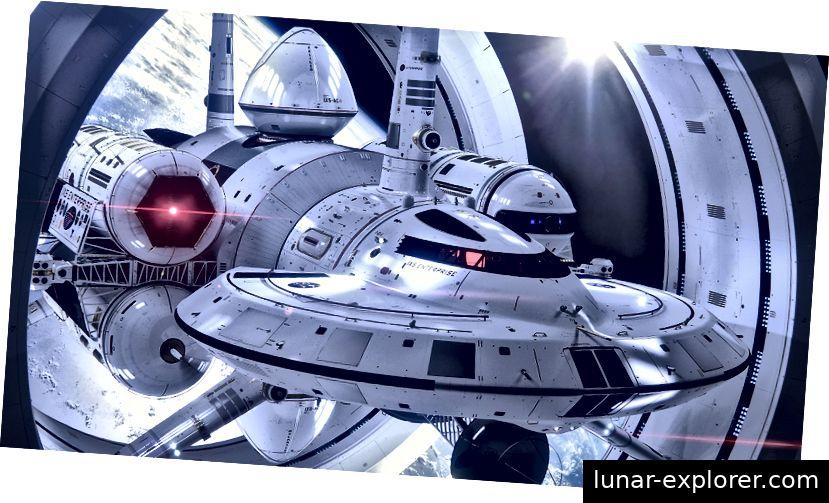 1IXS Enterprise, ein vorgeschlagenes Warpschiff von Harold G. White von NASA Eagleworks (Render von Mark Rademaker)