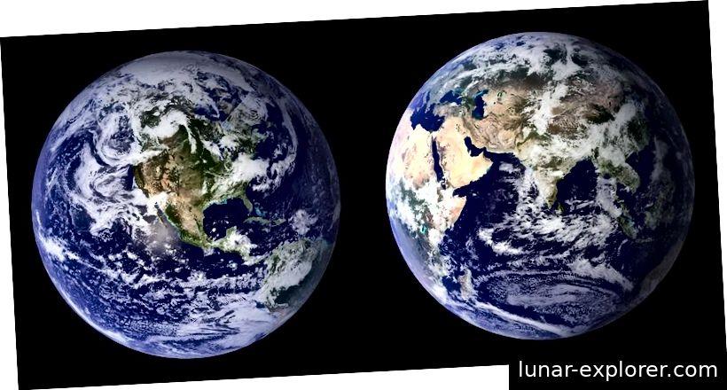 Globale Komposite mit zwei Halbkugeln aus MODIS-Daten (Moderate Resolution Imaging Spectroradiometer), aufgenommen in den Jahren 2001 und 2002. Bildnachweis: NASA / Blue Marble Project.