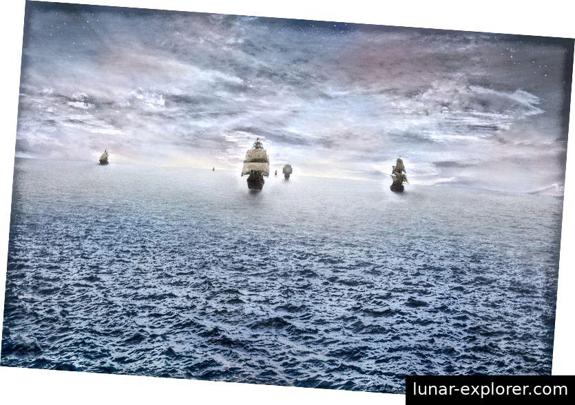 Wenn Schiffe weiter segeln, wird ein größerer Teil ihrer Rümpfe, Segel und Masten durch die Erdkrümmung vom Horizont verdeckt. Bildnachweis: stealth_sly von Pixabay.