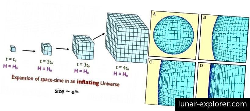 Durch das Aufblasen vergrößert sich der Raum exponentiell, was sehr schnell dazu führen kann, dass ein bereits vorhandener gekrümmter Raum flach erscheint. Wenn das Universum gekrümmt ist, hat es einen Krümmungsradius, der hunderte Male größer ist als das, was wir beobachten können. Bildnachweis: E. Siegel (L); Ned Wrights Kosmologie-Tutorial (R).