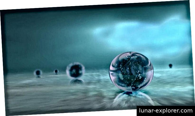 Ein Beispiel für die Idee des Multiversums ist die Darstellung mehrerer unabhängiger Universen, die in einem sich immer weiter ausbreitenden kosmischen Ozean kausal voneinander getrennt sind. Bildnachweis: Ozytive / Public Domain.
