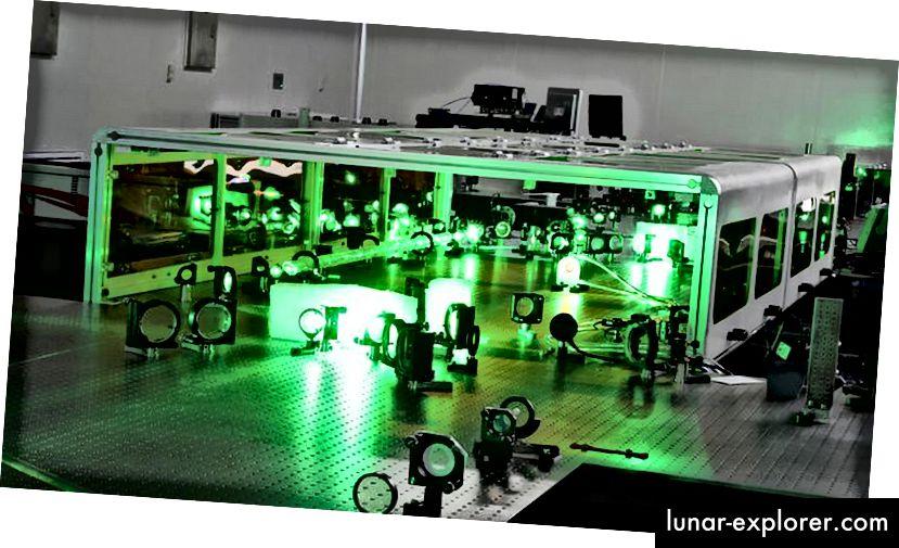 Ein Laser in Shanghai, China, hat Leistungsrekorde aufgestellt und passt dennoch auf Tischplatten. Die stärksten Laser sind nicht die energiereichsten, aber häufig die mit den kürzesten Laserpulsen. Bildnachweis: Kan Zhan.