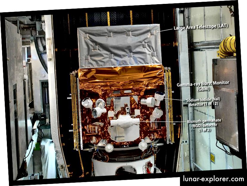 Dieses Bild wurde im Mai 2008 aufgenommen, als das Fermi-Gammastrahlen-Weltraumteleskop für den Start vorbereitet wurde. Es zeigt die Detektoren seines Gammastrahlen-Burst-Monitors (GBM). Das GBM ist eine Anordnung von 14 Kristalldetektoren. Bildnachweis: NASA / Jim Grossmann.
