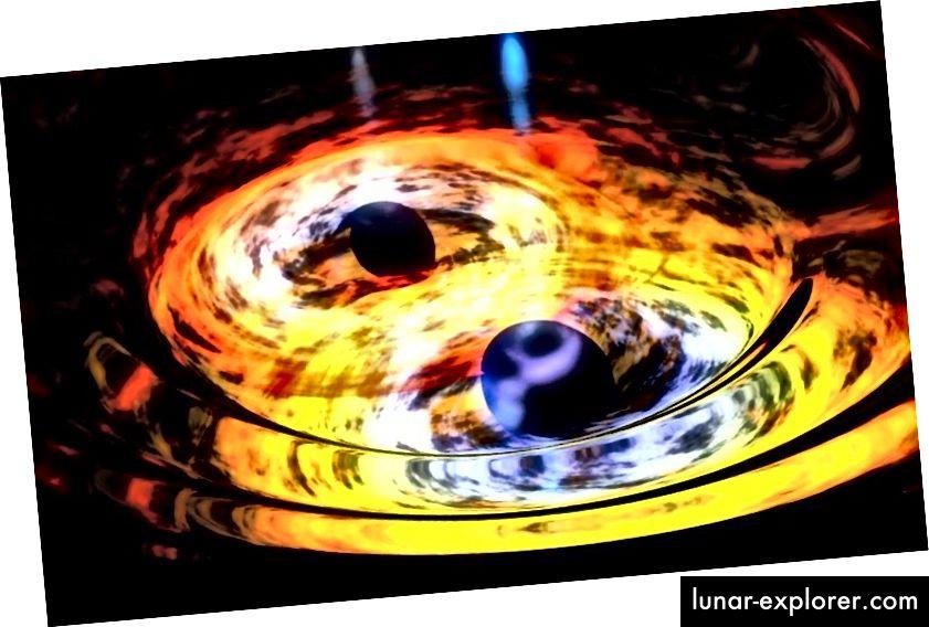 Auch wenn Schwarze Löcher mit Akkretionsscheiben versehen sein sollten und Materie aus ihnen herausfallen sollte, sollte es nicht ausreichen, Materie oder Material zu erzeugen, um einen Gammastrahlen-Transienten zu erzeugen. Ist unsere Theorie einfach falsch? Bildnachweis: NASA / Dana Berry (Skyworks Digital).