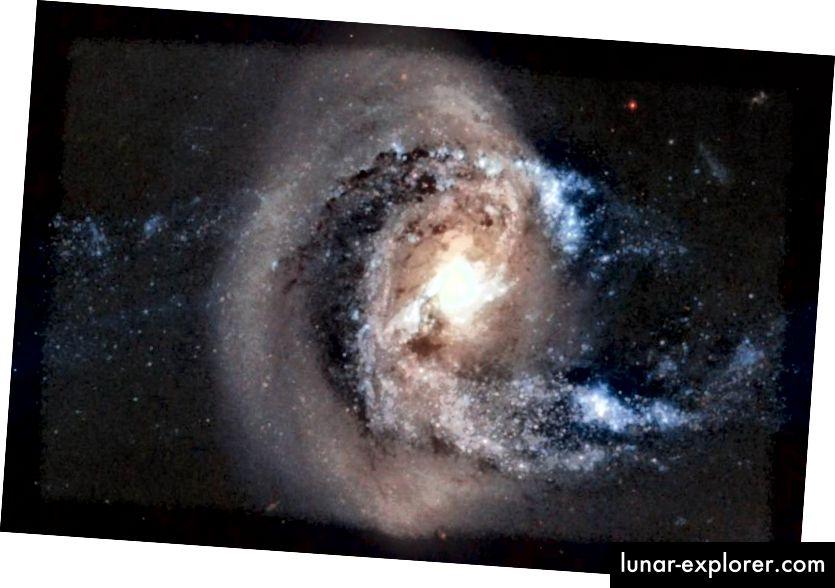 Spajanje galaksija je uobičajeno, a kako vrijeme prolazi, sve se gravitacijski povezane galaksije u skupinama i klasterima s vremenom spajaju u jednu galaksiju u jezgri svake vezane strukture. Kada dođe do većih spajanja, rezultat je često velika eliptična, ali nitko nije siguran što se događa s patuljastim satelitskim galaksijama. Kreditna slika: A. Gai-Yam / Weizmann Inst. znanosti / ESA / NASA.