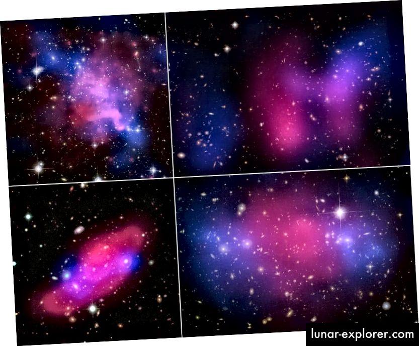 Četiri sudarajuća galaktička sudara, koja prikazuju razdvajanje između X-zraka (ružičasta) i gravitacije (plava), što ukazuje na tamnu tvar. Na velikim je mjestima CDM neophodan, ali na malim skalama nije uspješan sam po sebi koliko mi volimo. Kreditna slika: X-zraka: NASA / CXC / UVic. / A.Mahdavi i sur. Optički / Leća: CFHT / UVic. / A. Mahdavi i sur. (gore lijevo); X-zraka: NASA / CXC / UCDavis / W.Dawson i sur .; Optički: NASA / STScI / UCDavis / W.Dawson i sur. (Gore desno); ESA / Xmm-Newton / F. Gastaldello (INAF / IASF, Milano, Italija) / CFHTLS (dolje lijevo); X-zraka: NASA, ESA, CXC, M. Bradac (Kalifornijsko sveučilište, Santa Barbara) i S. Allen (Sveučilište Stanford) (dolje desno).