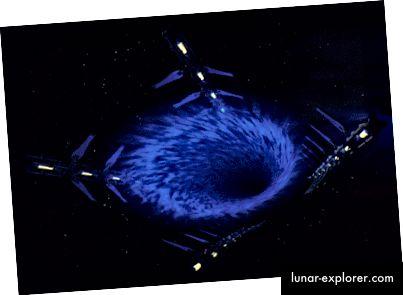 Neke znanstvene fantastične TV emisije poput Farscape (lijevo) imale su plovila sposobna za FTL samostalno putovanje, dok su druge emisije poput Babylona 5 (desno) odlučile da njihovi brodovi koriste umjetne tunele kroz prostor-vrijeme poznati kao crvotočine.