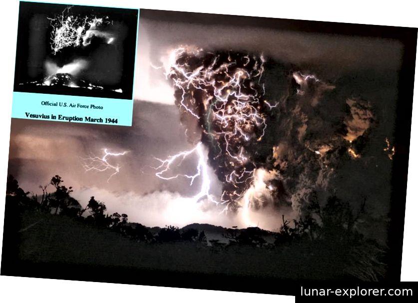 Der Ausbruch von Chaiten im Jahr 2008 verursachte eine große Menge vulkanischer Blitze, aber dies ist kein neues oder seltenes Ereignis. Vulkanische Blitze sind seit vielen Jahrzehnten fotografisch dokumentiert und seit Jahrtausenden historisch dokumentiert. Bildnachweis: US Air Force (Einschub), Carlos Gutierrez (Haupt).