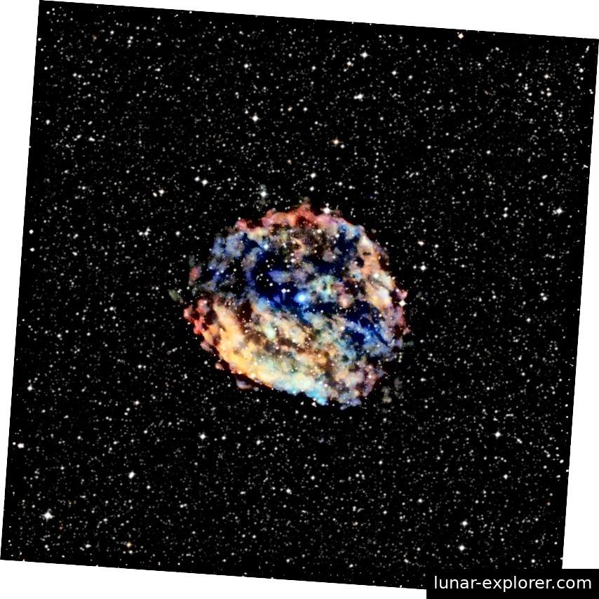 Der sehr langsam rotierende Neutronenstern im Kern des Supernova-Überrestes RCW 103 ist ebenfalls ein Magnetar. Im Jahr 2016 haben neue Daten von verschiedenen Satelliten bestätigt, dass dies der langsamste Neutronenstern ist, der jemals gefunden wurde. Massivere Supernovae können ein Schwarzes Loch erzeugen, aber Neutronensterne können die dichtesten physischen Objekte sein, die die Natur ohne Singularität erzeugen kann. Bildnachweis: Röntgen: NASA / CXC / Universität Amsterdam / N.Rea et al .; Optisch: DSS.
