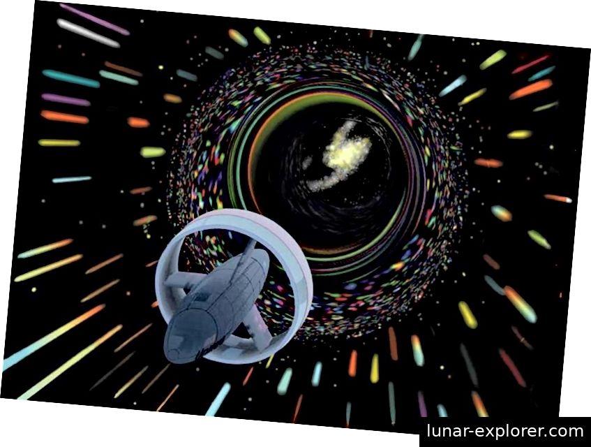 Die Vorstellung eines Künstlers von einem Raumschiff, das den Alcubierre-Antrieb nutzt, um mit scheinbar über dem Licht liegenden Geschwindigkeiten zu reisen. Stamets und Tilly kombinieren die Warp-Technologie mit dem Mycel-Antrieb und den Schiffsschildern und planen, Discovery nach Hause zu bringen, während das Mycel-Netzwerk intakt bleibt. Bildnachweis: NASA.