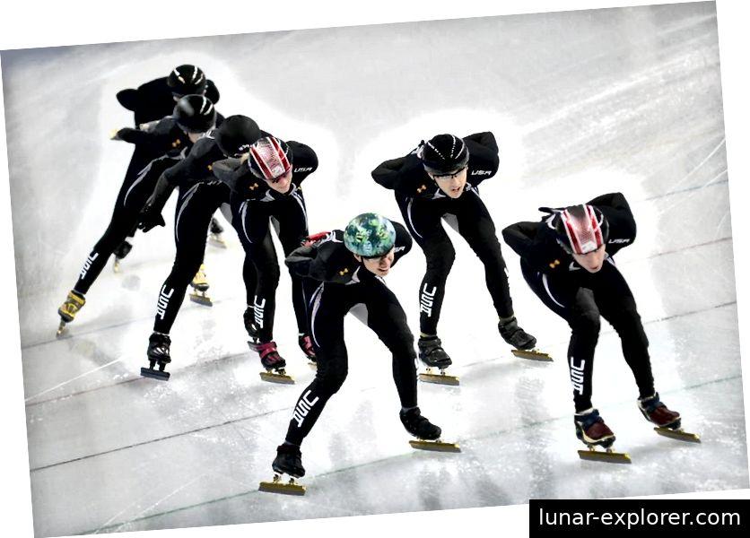 Mitglieder des US-amerikanischen Eisschnelllauf-Teams trainieren in ihren umstrittenen Skating-Anzügen für die Olympischen Spiele 2014. Die enttäuschenden Ergebnisse wurden teilweise den Anzügen zugeschrieben, obwohl es keine Beweise dafür gab, dass die Anzüge schuld waren. Bildnachweis: Alexander Nemenov / AFP / Getty Images.