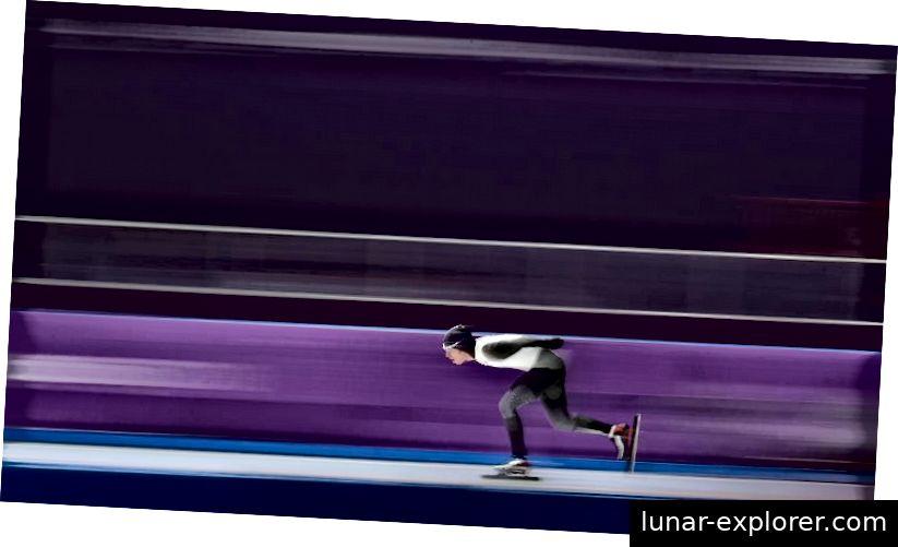 Japanka Ryosuke Tsuchiya u finalu muškog klizanja na 10 000 metara na ogledu Gangneung tijekom šestog dana zimskih olimpijskih igara u PyeongChangu 2018. u Južnoj Koreji. Tsuchiya je završila na 10. mjestu. Kreditna slika: Mike Egerton / PA Images putem Getty Images.