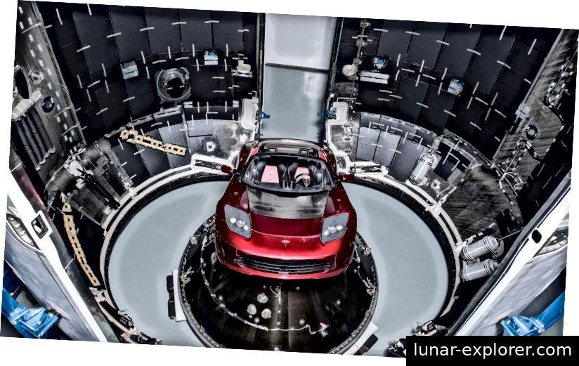 SpaceXs Falcon Heavy-Rakete auf der Startrampe mit Elons rotem Tesla Roadster. Foto: SpaceX / Shutterstock