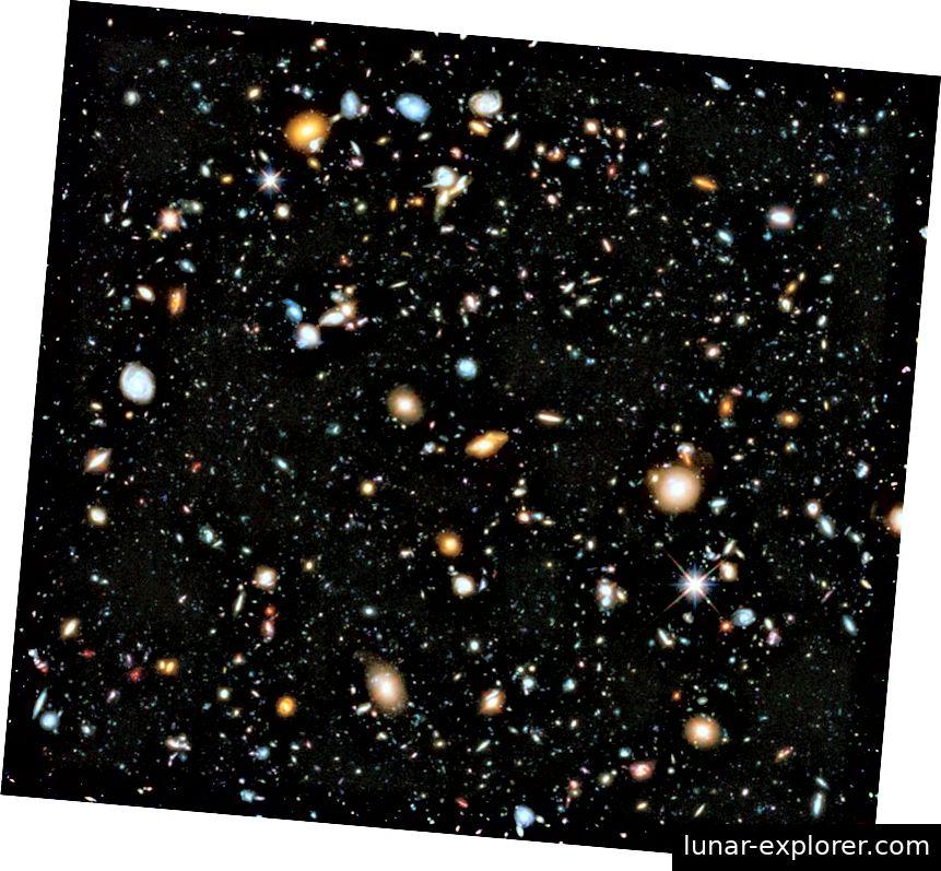 Az XDF teljes UV-látható-IR-kompozitja; a távoli világegyetem valaha megjelent legnagyobb képe. Az ég mindössze 1/32 000 000-es régiójában 5500 azonosítható galaxist találtunk, mindezt a Hubble űrteleszkópnak köszönhetően. (NASA, ESA, H. Teplitz és M. Rafelski (IPAC / Caltech), A. Koekemoer (STScI), R. Windhorst (Arizona Állami Egyetem) és Z. Levay (STScI))