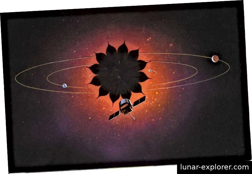 A Starshade koncepció lehetővé tenné a közvetlen exoplanet képalkotást a 2020-as évek elején. Ez a rajz rajzolja egy csillagárnyalatú távcsövet. (NASA és Northrop Grumman)