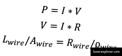Neke elektroničke jednadžbe. Imajte na umu da ako znate unos snage (P) i struju (I), možete odlučiti za sve ostalo ovdje s obzirom na određeni materijal.
