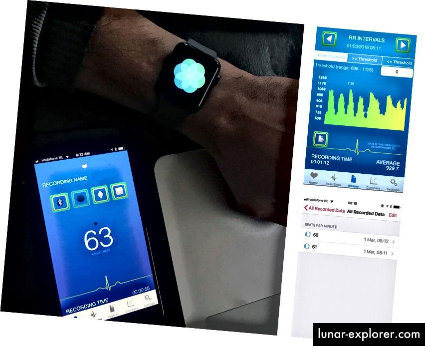 Istovremeno snimanje pomoću Polar H7 prsnog remena povezanog s aplikacijom HRV Logger (naši referentni podaci) i aplikacijom 'Breathe' u Apple Watch-u. Na snimkama zaslona s desne strane vidimo kako se unatoč ručnom mjerenju HRV-a pokrenutoj pomoću aplikacije 'Breathe', za minutu podataka bilježe samo dva otkucaja srca (u prošlosti sam vidio niz različitih ishoda međutim, očigledno nema podataka o ritmu da se tuku). Gornji zaplet prikazuje kako izgledaju podaci o ritmu udaranja tijekom vježbe disanja, s jasnim oscilacijama otkucaja srca zbog udisaja / udisaja, to bi bili podaci koje bismo trebali da izračunamo druge značajke HRV-a iz RR intervala, koji međutim nisu prisutni u zdravstvu.