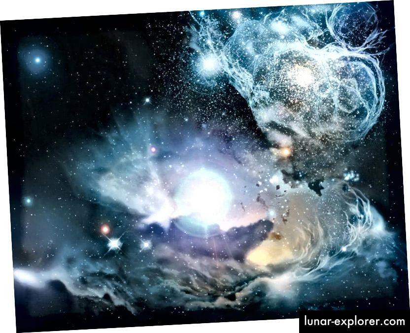 A művész benyomása a környezetről a korai világegyetemben, miután az első néhány billió csillag kialakult, élt és meghalt. A csillagok létezése és életciklusa az elsődleges folyamat, amely gazdagítja az Univerzumot pusztán a hidrogénen és a héliumon túl, míg az első csillagok által kibocsátott sugárzás a látható fény számára átlátszóvá teszi. (NASA / ESA / ESO / Wolfram Freudling és társai (STECF))