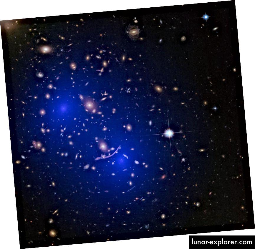 Die durch Gravitationslinsen rekonstruierte Massenverteilung des Clusters Abell 370 zeigt zwei große, diffuse Massenhalos, die mit der Dunklen Materie übereinstimmen, wobei zwei Cluster verschmelzen, um das zu erzeugen, was wir hier sehen. Um und durch jede Galaxie, jeden Haufen und jede massive Ansammlung von normaler Materie existiert insgesamt fünfmal so viel dunkle Materie. (NASA, ESA, D. Harvey (École Polytechnique Fédérale de Lausanne, Schweiz), R. Massey (Durham University, UK), das Hubble SM4 ERO-Team und ST-ECF)