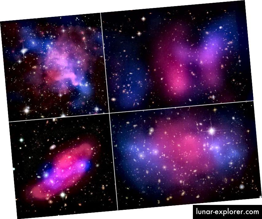 Četiri sudarajuća galaktička sudara, koja prikazuju razdvajanje između X-zraka (ružičasta) i gravitacije (plava), što ukazuje na tamnu tvar. Na velikim mjerilima potrebna je hladna tamna tvar i nijedna alternativa ili zamjena neće učiniti. (X-zraka: NASA / CXC / UVic. / A.Mahdavi i dr. Optical / Lensing: CFHT / UVic. / A. Mahdavi i sur. . (gore lijevo); X-zraka: NASA / CXC / UCDavis / W.Dawson i dr .; optički: NASA / STScI / UCDavis / W.Dawson i dr. (gore desno); ESA / XMM-Newton / F. Gastaldello (INAF / IASF, Milano, Italija) / CFHTLS (dolje lijevo); X-zraka: NASA, ESA, CXC, M. Bradac (Kalifornijsko sveučilište, Santa Barbara) i S. Allen (Sveučilište Stanford) (dolje desno) ))