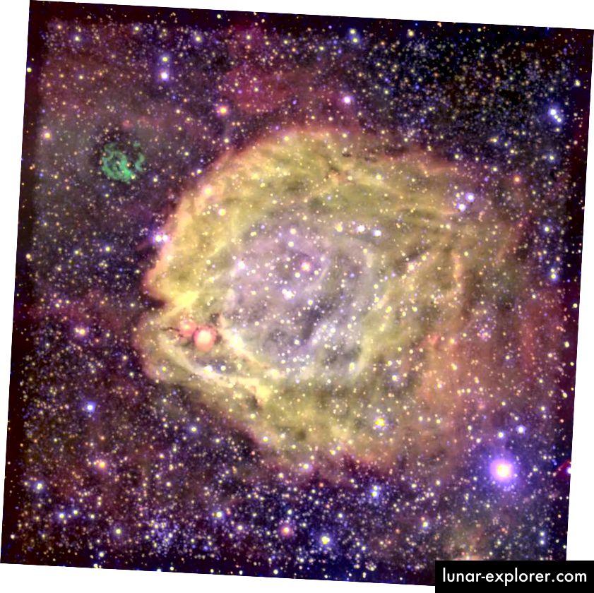 Der hier gezeigte Nebel mit extrem hoher Anregung wird von einem äußerst seltenen Doppelsternsystem angetrieben: einem Wolf-Rayet-Stern, der einen O-Stern umkreist. Die Sternwinde, die vom zentralen Wolf-Rayet-Mitglied ausgehen, sind zwischen 10.000.000 und 1.000.000.000 Mal so stark wie unser Sonnenwind und werden bei einer Temperatur von 120.000 Grad beleuchtet. (Der grüne Supernova-Rest außerhalb des Zentrums ist nicht verwandt.) Systeme wie dieses repräsentieren schätzungsweise höchstens 0,00003% der Sterne im Universum. (ESO)