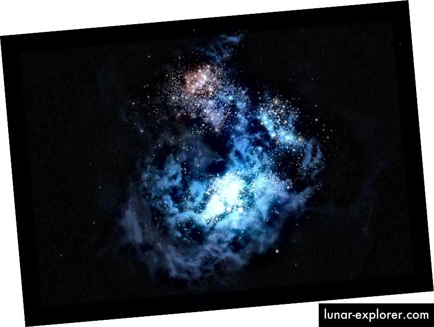 Abbildung der fernen Galaxie CR7, in der 2016 der bisher beste Kandidat für eine unberührte Population von Sternen aus dem Material des Urknalls entdeckt wurde. Eine der entdeckten Galaxien beherbergt definitiv Sterne; der andere hat sich vielleicht noch nicht gebildet. (M. Kornmesser / ESO)