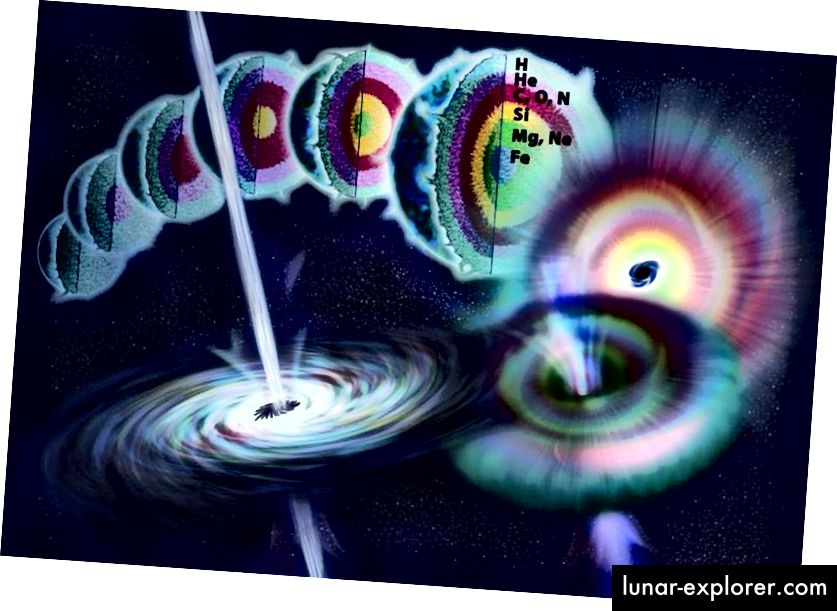 Die Anatomie eines sehr massereichen Sterns während seines gesamten Lebens, der in einer Supernova vom Typ II gipfelt, wenn der Kern keinen Kernbrennstoff mehr enthält. Die letzte Stufe der Fusion ist die Verbrennung von Silizium, wobei für eine kurze Zeit Eisen und eisenähnliche Elemente im Kern entstehen, bevor eine Supernova entsteht. (Nicole Rager Fuller / NSF)