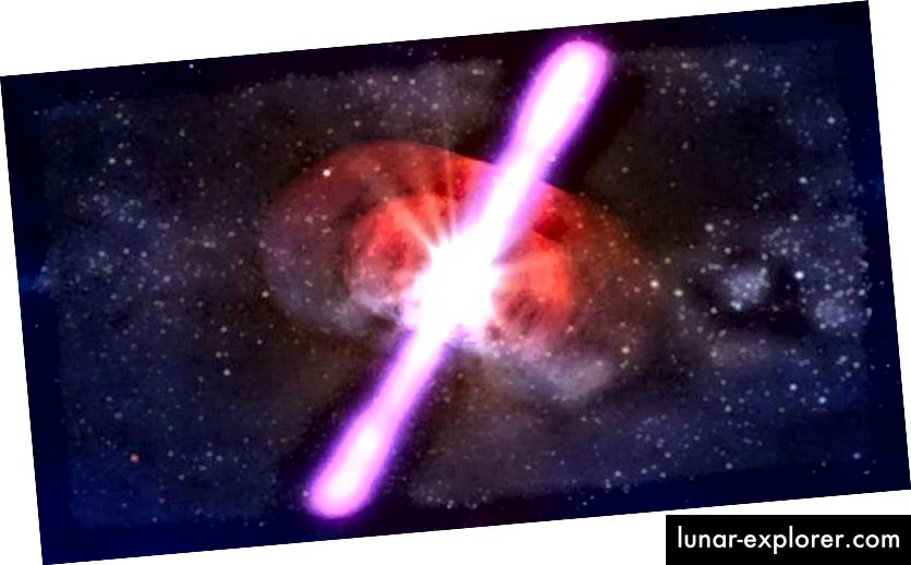 Ilustracija vrlo visokog energetskog procesa u Svemiru: pucanja gama zraka. (NASA / D. Berry)