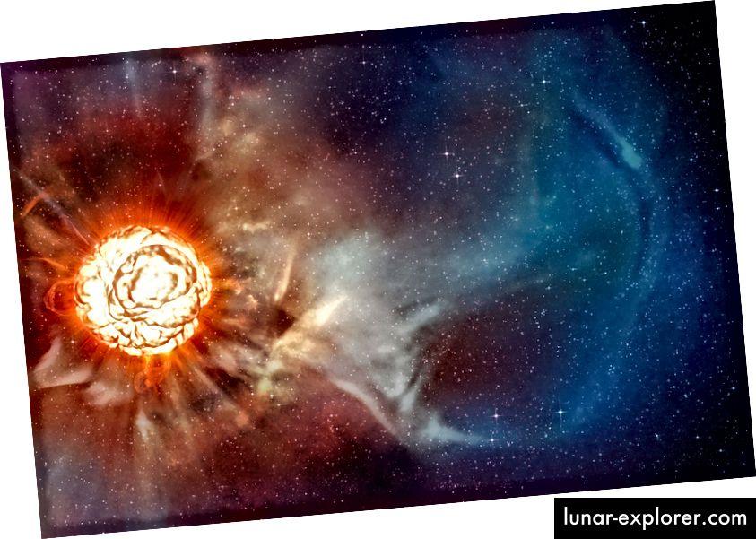 Die Darstellung dieses Künstlers zeigt den überragenden Stern Betelgeuse, wie er dank verschiedener hochmoderner Techniken am Very Large Telescope (VLT) der ESO enthüllt wurde, mit denen zwei unabhängige Astronomenteams den schärfsten Blick auf den überragenden Stern Betelgeuse erhielten . Sie zeigen, dass der Stern eine riesige Gaswolke hat, die fast so groß ist wie unser Sonnensystem und eine gigantische Blase auf seiner Oberfläche kocht. (ESO / L. Calçada)
