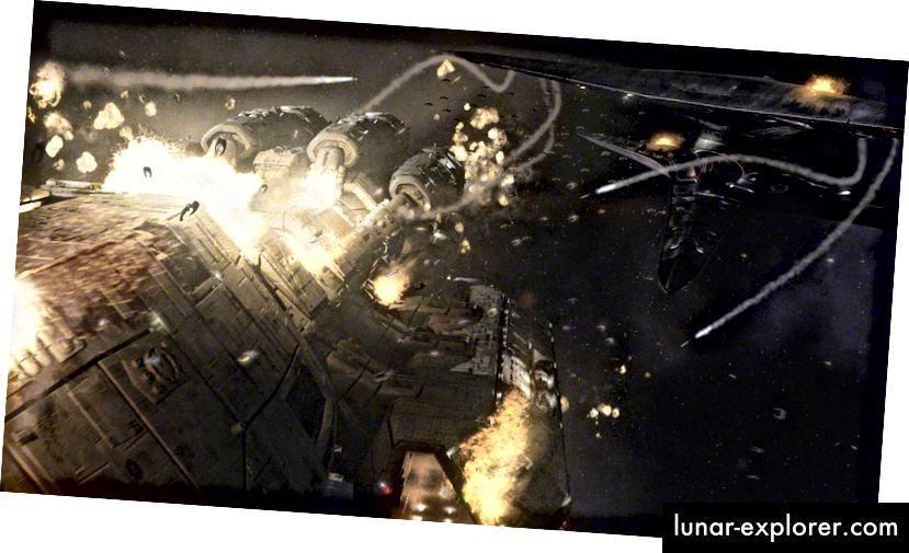 Haotičan, eksplozivan prizor s Battlestar Galactice (2004), izvora za kojega se mogu raspravljati dosad najveće znanstveno-fantastične bitke.