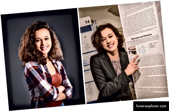 Die Siegerin des zweiten Platzes, Natalia Orlovsky (links), stellte ihre Forschungsergebnisse auf der öffentlichen Projektausstellung von Regeneron Science Talent Search 2018 vor (rechts).