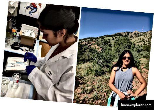 Der Sieger des dritten Platzes, Isani Singh, arbeitet im Labor (links) und wandert (rechts).