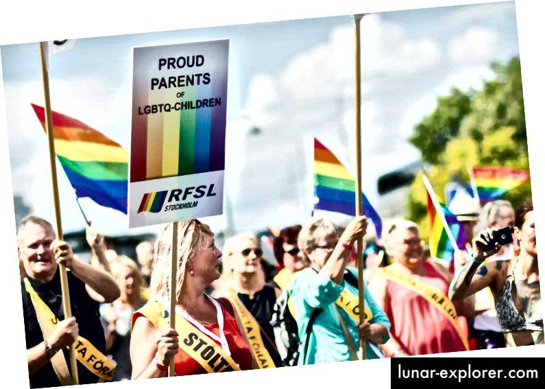 Eltern marschieren in der Pride Parade in Stockholm, Schweden, Juli 2016. (Shutterstock)