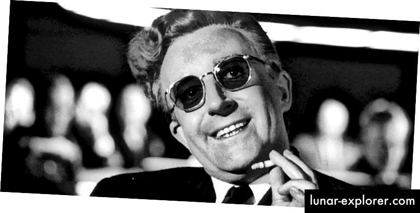 Sjajan i duhovit nastup Petera Sellera u ulozi dr. Strangelovea, lika koji se temelji na bivšem nacističkom znanstveniku Wernheru von Braunu.