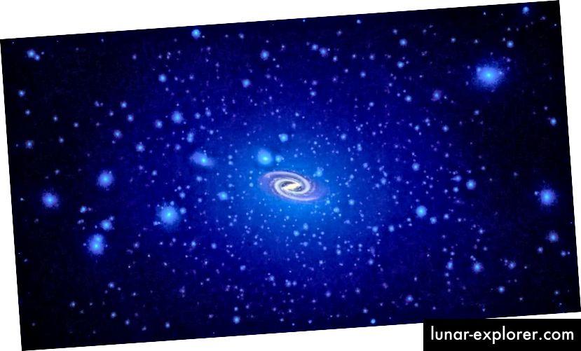 Ein klumpiger Lichthof aus dunkler Materie mit variierender Dichte und einer sehr großen, diffusen Struktur, wie durch Simulationen vorhergesagt, wobei der leuchtende Teil der Galaxie skaliert ist. Da dunkle Materie überall ist, sollte sie auch in unserem Sonnensystem vorhanden sein. Warum haben wir es noch nicht gesehen? (NASA, ESA und T. Brown und J. Tumlinson (STScI))