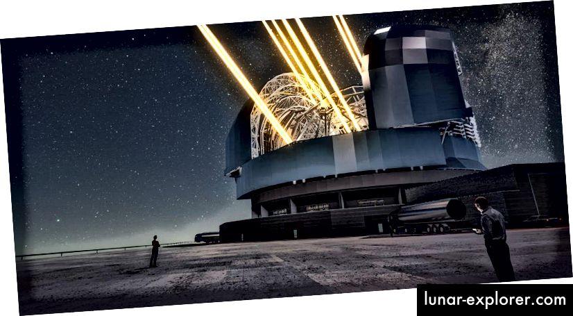Das Rendering dieses Künstlers zeigt eine Nachtansicht des in Betrieb befindlichen Extrem Large Telescope auf dem Cerro Armazones im Norden Chiles. Das Teleskop wird mithilfe von Lasern gezeigt, um künstliche Sterne hoch in der Atmosphäre zu erzeugen. (ESO / L. Calçada)