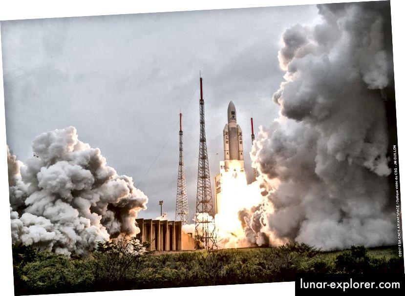 Start der 82. erfolgreichen Mission von Ariane 5 in Französisch-Guayana am 12. Dezember 2017 Dieser Flug, VA240, sollte repräsentativ für das sein, was JWST bei seinem Start im Jahr 2019 sieht. Möge er erfolgreich sein. Für Weltraumstarts haben wir nur eine Chance. (Arianespace)