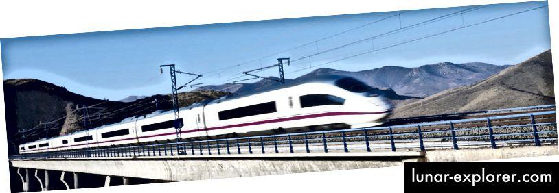 Izvor slike: http://www.spain.info/hr/reportajes/viaje_por_espana_en_sus_trenes_de_alta_velocidad.html Sa 3.100 km pruge španjolski brzi AVE vlakovi prometuju na najdužoj mreži velikih brzina u Europi. Trčanje brzinom do 310 km / h ova opsežna mreža omogućava brze veze između gradova u Španjolskoj. Putujte od Madrida do Barcelone za manje od 3 sata! (Eurail.com)