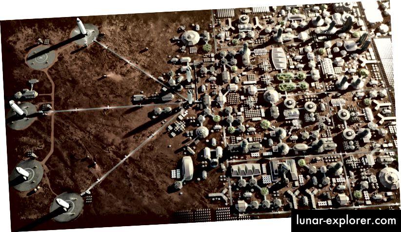 Rendern einer geplanten Stadt auf dem Mars mit Start- und Landeplätzen für Interplanetary Transport S-Shuttles (SpaceX)