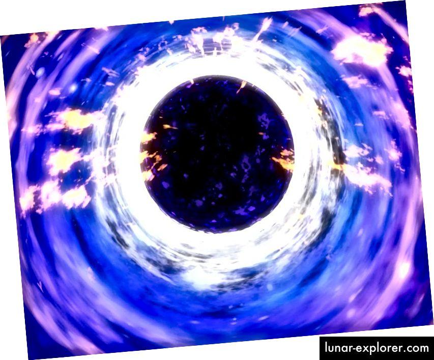 Außerhalb des Ereignishorizonts eines Schwarzen Lochs reichen die Allgemeine Relativitätstheorie und die Quantenfeldtheorie völlig aus, um die Physik dessen, was auftritt, zu verstehen. Das ist Hawking-Strahlung. Aber auch die Kombination dieser beiden führt zu einem Informationsparadoxon, das noch nicht gelöst ist. (NASA)