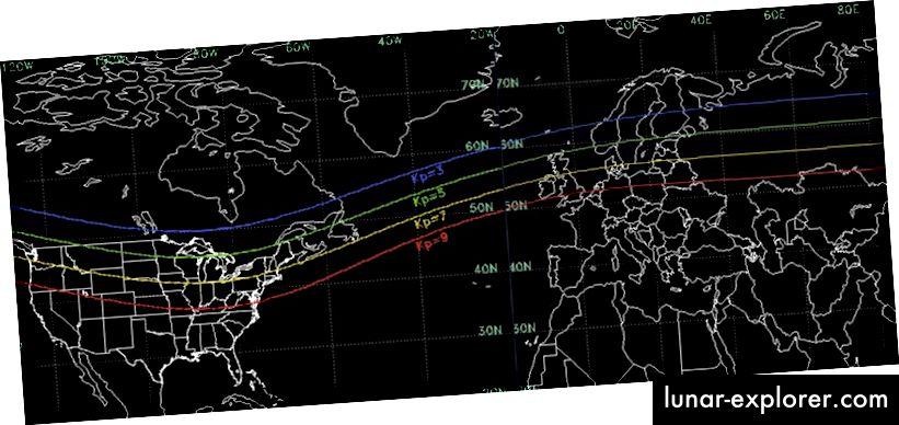 Der hier gezeigte planetarische K-Index für nördliche Breiten. Vitrinen, in denen Auroralansichten normalerweise sichtbar und nicht sichtbar sind. Der K-Index liegt auf einer Skala von 0 bis 9, wobei 1 eine typische, ruhige Aktivität ist und Auroren nördlich der für einen bestimmten Wert angezeigten Linie sichtbar sind. (NOAA; mit freundlicher Genehmigung von VE3EN unter http: //www.solarham .net / viewing.htm)