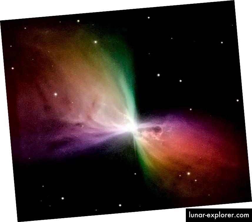 Ein farbcodiertes Bild des Bumerang-Nebels, aufgenommen vom Hubble-Weltraumteleskop. Das von diesem Stern ausgestoßene Gas hat sich unglaublich schnell ausgedehnt, wodurch es adiabatisch abgekühlt ist. Es gibt Orte in ihm, die kälter sind als das übrig gebliebene Leuchten des Urknalls. (NASA / HUBBLE / STSCI)