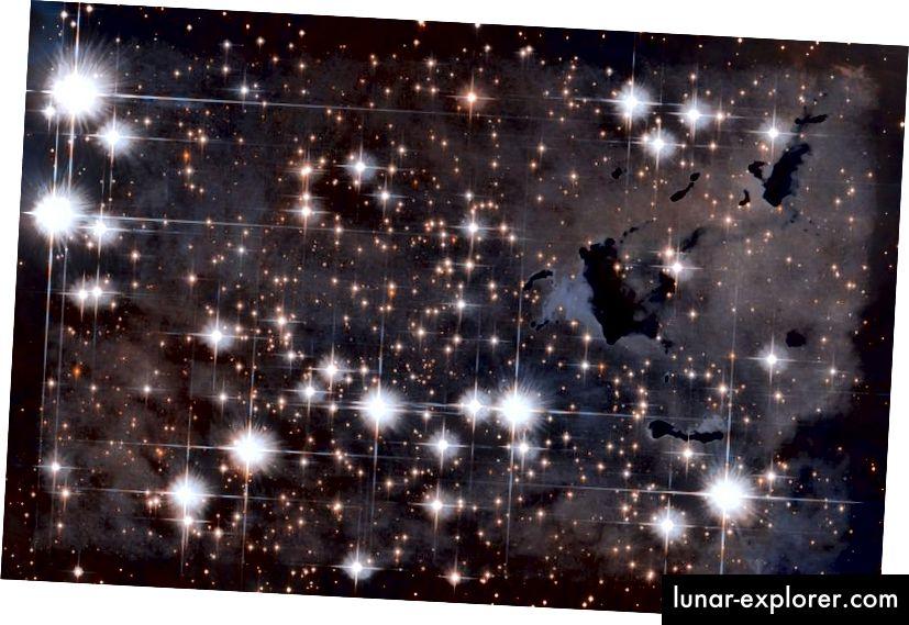 Der Adlernebel, der für seine fortdauernde Sternentstehung berühmt ist, enthält eine große Anzahl von Bok-Kügelchen oder dunklen Nebeln, die noch nicht verdampft sind und daran arbeiten, zusammenzubrechen und neue Sterne zu bilden, bevor sie vollständig verschwinden. Während die äußere Umgebung dieser Kügelchen extrem heiß sein kann, kann das Innere vor Strahlung geschützt werden und tatsächlich sehr niedrige Temperaturen erreichen. (ESA / HUBBLE & NASA)